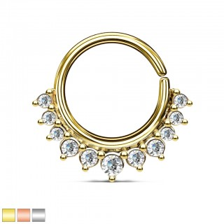 Coloured multifunctional piercing ring with clear jewels