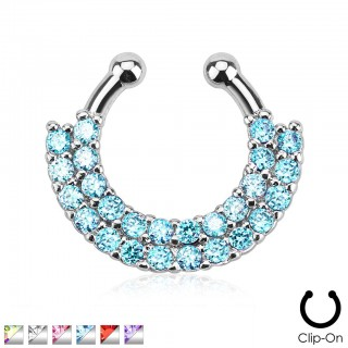 Fake septum ring with dual lines of jewels