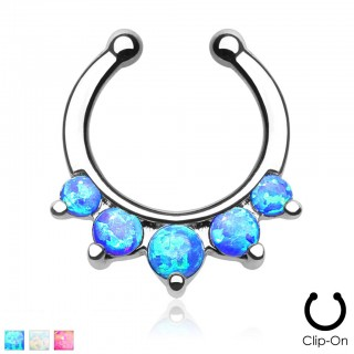 Fake septum ring with five opal stones