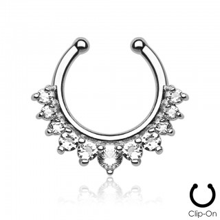 Fake septum piercing with elevent jewels