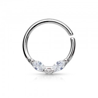 Bendable septum piercing hoop with dual stones