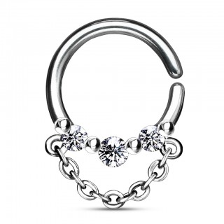 Bendable septum ring with crystals and dangling chain