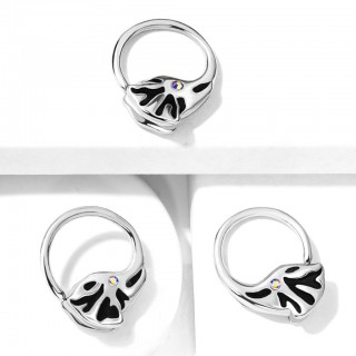 Crystalised versatile elephant trunk shaped seamless ring