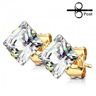 Pair gold ear studs clear squared crystal