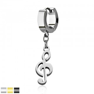 Helix huggie with a dangling Musical note