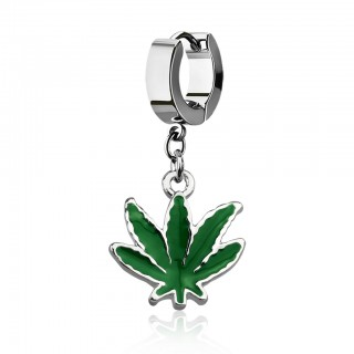 Silver helix huggie with dangling green painted marihuana leave