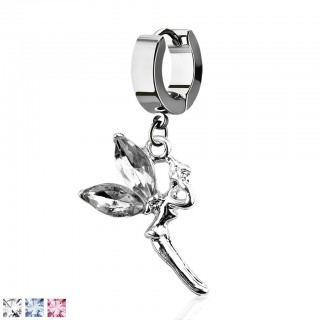 Silver helix huggie with dangling fairy with crystal wings