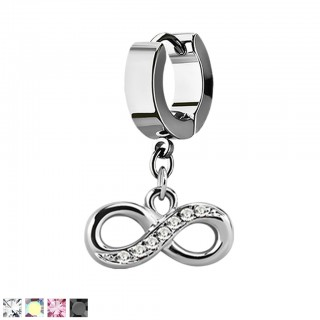 Silver helix huggie with dangling infinity symbol with crystals