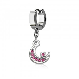Helix huggie with a dangling crystal studded moon