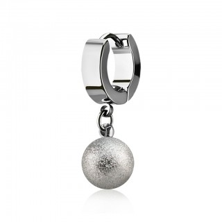 Helix huggie with dangling sand blast ball