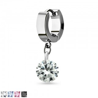 Helix huggie with a dangling 8 mm round crystal