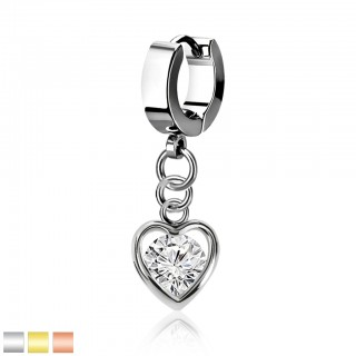 Coloured helix huggie with dangling heart shaped and crystal