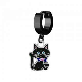 Helix huggie with a dangling black cat design