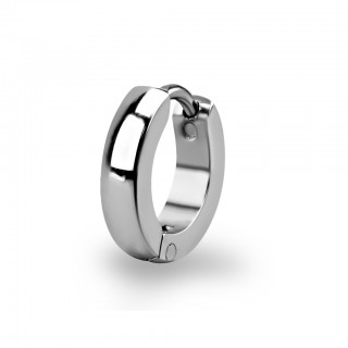 Silver helix huggie with rounded edges