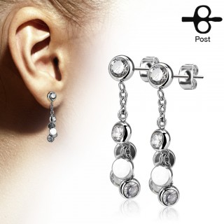 Pair ear studs with dangling crystals in balls