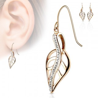 Eardrop earrings with decorative crystalised leaf