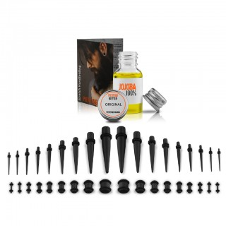 Black all-in-one ear stretching kit up to 10 mm