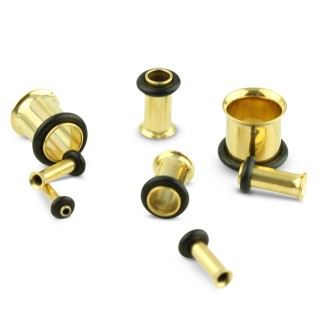 Set golden tunnels for ear stretching from 1.6 mm to 10 mm