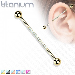 Titanium Industrial Barbell with Line of Coloured Opal Stones