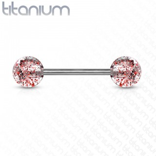 Titanium barbell piercing with awesome glittering beads