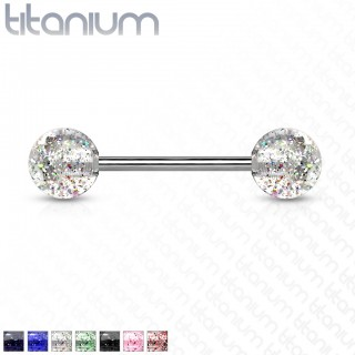 Solid titanium barbell with ultra glitter balls