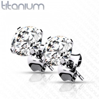 Pair of implant grade titanium ear studs with prong set crystals