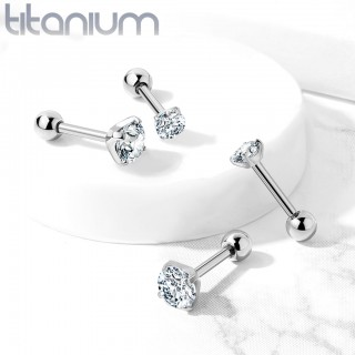Solid titanium cartilage stud with prong set crystal