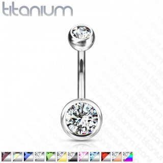 Titanium belly bar with coloured diamonds