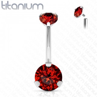Internally threaded titanium belly bar with two prong set crystals