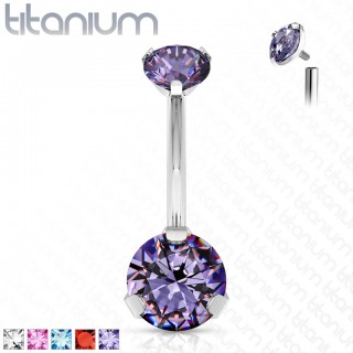 Internally threaded belly bar with two prong set crystals
