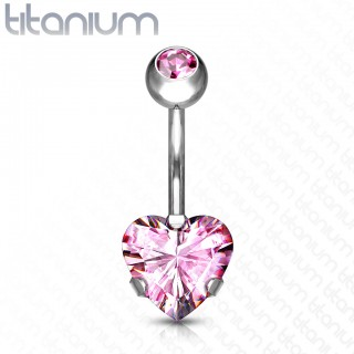 Solid titanium belly bar with prong set heart crystal