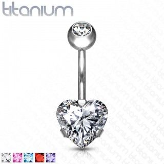 Gem fitted ball belly bar with prong set heart crystal