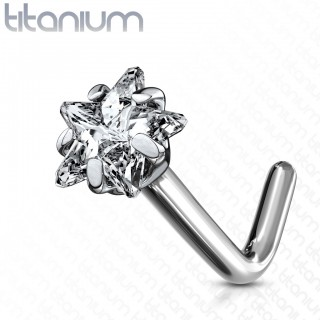 Solid titanium nose stud with star shaped crystal
