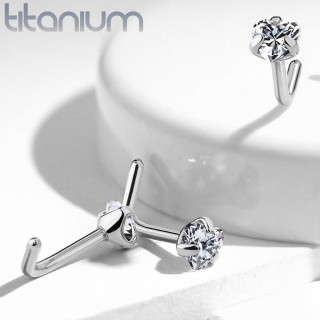 Solid titanium nose stud with heart shaped crystal