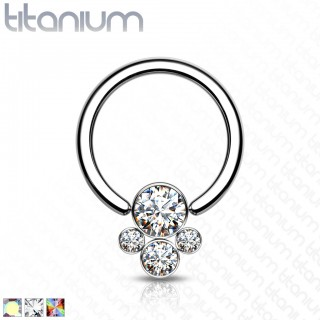 Titanium Ball Closure Ring with crystal Pet Paw