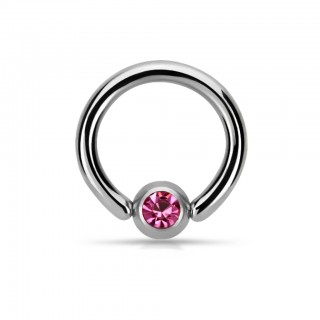 Solid titanium ball closure ring with coloured crystal