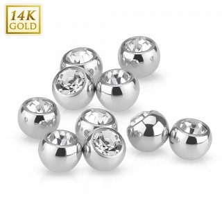 Solid white gold screw-in beads