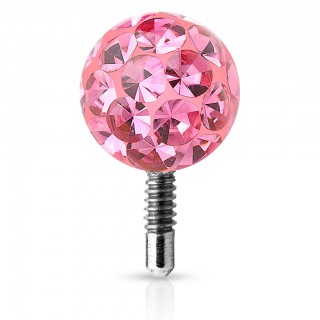 Internally threaded ferido style coloured crystal ball top – Pink – 3 mm