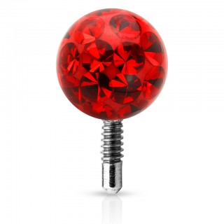 Internally threaded ferido style coloured crystal ball top – Red – 3 mm