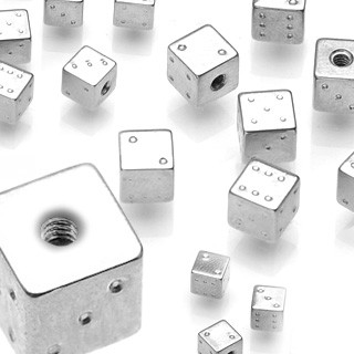 316L surgical steel piercing top in dice shape