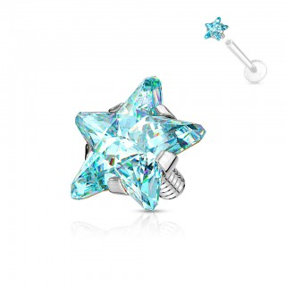Internally threaded top with coloured star shaped crystal