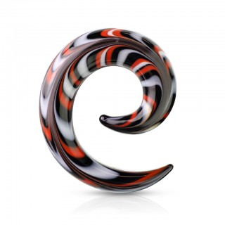 Black glass spiral taper with red and white colours