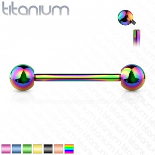 Internally screwed coloured solid titanium barbell piercing