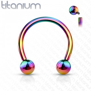 Solid titanium internally threaded horseshoe barbell in 7 colours