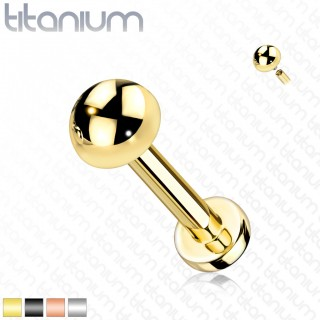 Internally threaded solid titanium labret with coloured dome-Silver-6 mm