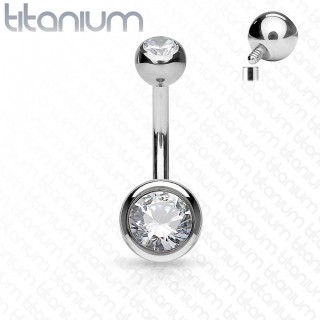 Titanium internally threaded belly piercing with two crystals