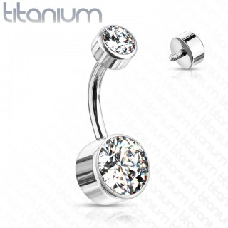 Titanium internally threaded belly piercing with round crystals