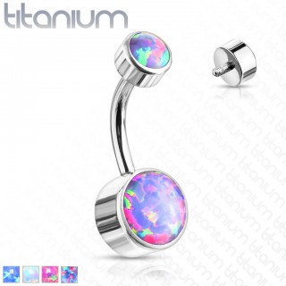 Titanium internally threaded belly piercing with round opal stones