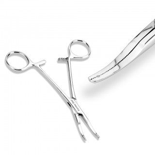 Forceps to hold 2 mm thick dermal anchors in place