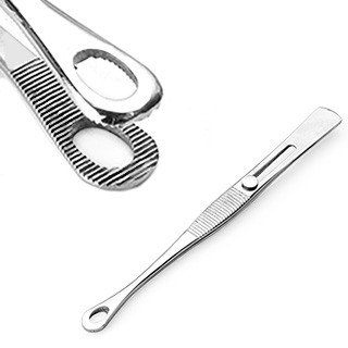 Tweezers with sliding lock and small oval head